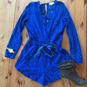 Lioness Blue Lace Long-sleeve Romper